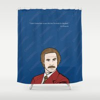 anchorman Shower Curtains featuring Ron Burgundy Anchorman  by Sheena White for Winsome Gallery