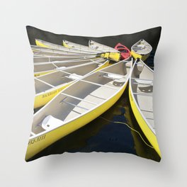 Tethered Yellow Canoes at Lost Lake in Whistler British Columbia Throw Pillow