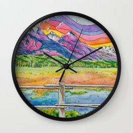 Vibrant Mountains Wall Clock