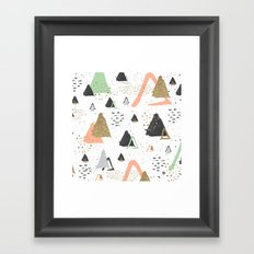 Triangles & textures watercolor Framed Art Print