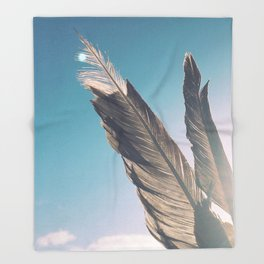 Brown Feathers Throw Blanket