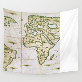 Vintage Map of The World (1566) Wall Tapestry