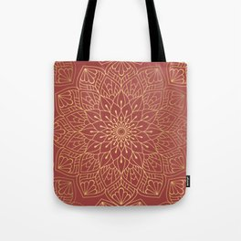 Gold Mandala Pattern On Cherry Red Tote Bag