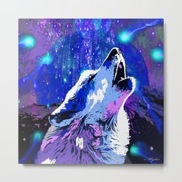 WOLF MOON AND SHOOTING STARS Metal Print