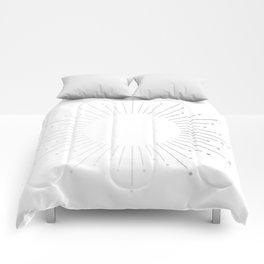 Sunburst Moonlight Silver on White Comforters
