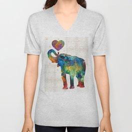 Colorful Elephant Art - Elovephant - By Sharon Cummings Unisex V-Neck