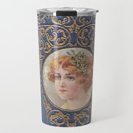Antique Book Cover * Literacy Art for book lovers * Beyond the City * blue gold  victorian Travel Mug