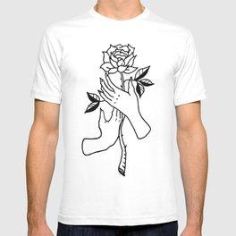 Hands Holding Rose Design — Hands & Rose Stem Illustration T-shirt