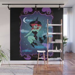 Cute Pinup Witch on Purple Wall Mural