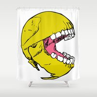pac man Shower Curtains featuring Ancient Pac-man by Sauce Designs