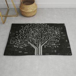 Tree Black Motherboard Geek Decor Rug