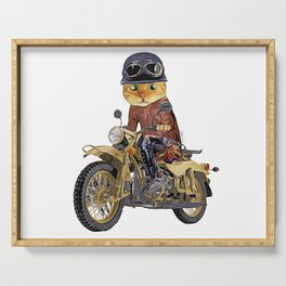 Cat riding motorcycle Serving Tray