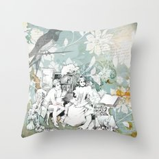 Vintage Reading Collage Throw Pillow