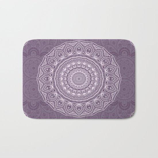 White Lace on Lavender Bath Mat