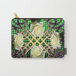 BLUE-GREEN WHITE ROSE GARDEN  TAPESTRY ART Carry-All Pouch