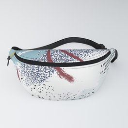 Tender blue red splash Fanny Pack