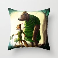 robin hood Throw Pillows featuring Robin Hood & Little John by Jehzbell Black