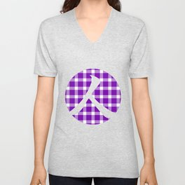 Plaid Royal Purple Person Unisex V-Neck