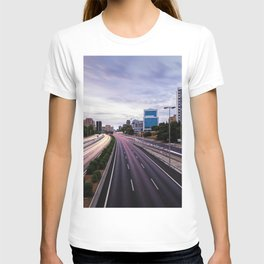 Motorway in Madrid at sunset T-shirt