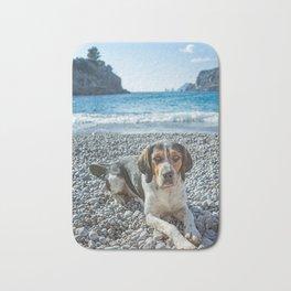 dog on the beach Bath Mat