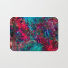 psychedelic geometric triangle abstract pattern in pink red blue Bath Mat