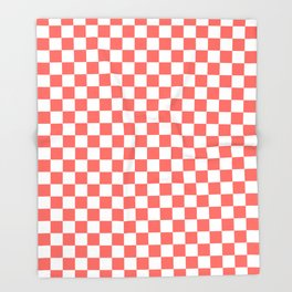 Small Checkered - White and Pastel Red Throw Blanket