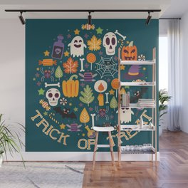 Retro Halloween Trick-Or-Treat Collage Wall Mural