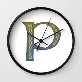 Celtic Knotwork Alphabet - Letter P Wall Clock
