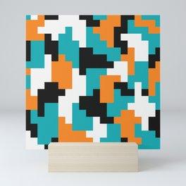 Color blocking shapes orange, teal Mini Art Print