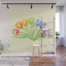 Rainbow Tulips, Flowers with Yellow Background Wall Mural