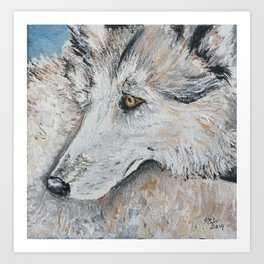 Timber Wolf in Blue Art Print