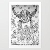 viking Art Prints featuring Viking by Infra_milk
