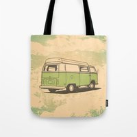 vw bus Tote Bags featuring VW Bus by QRS Patterns