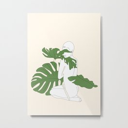 Woman with Monstera Leaves Metal Print