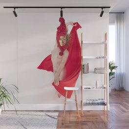 1545s-MM Red Mask and Drape High Key Art Nude on White Wall Mural