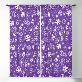 Snowflake Snowstorm With Purple Background Blackout Curtain