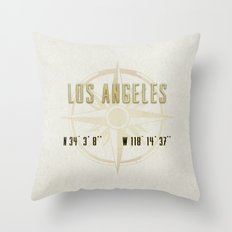 Los Angeles - Vintage Map and Location Throw Pillow