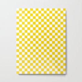 Small Checkered - White and Gold Yellow Metal Print