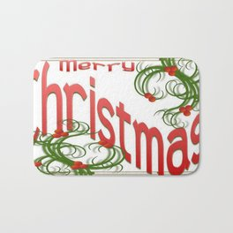 Merry Christmas With Stylized Holly With White Background  Bath Mat