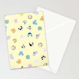 Cute Chibi animals pattern Stationery Cards