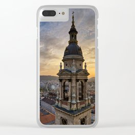 Golden sunset over Budapest Clear iPhone Case