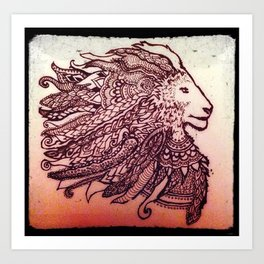 Mandala inspired Lion Art Print