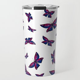 Fly With Pride: Bisexual Flag Butterfly Travel Mug