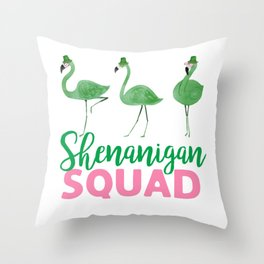 Shenanigan Flamingo squad Throw Pillow