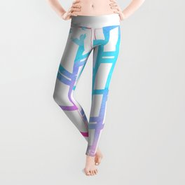 Geometric pink teal watercolor abstract gradient pattern Leggings