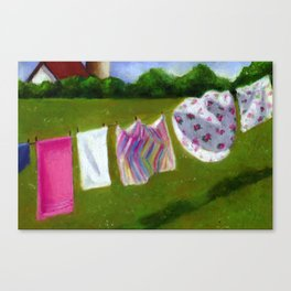 Laundry Day In The Country Canvas Print