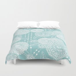 Asters rain in mint green color Duvet Cover