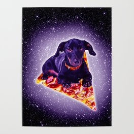 Outer Space Galaxy Dog Riding Pizza Poster