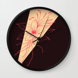 Modern Peach, Coral, and Black Floral Triangles Wall Clock