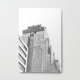 New Yorker Sign - NYC Black and White Metal Print
